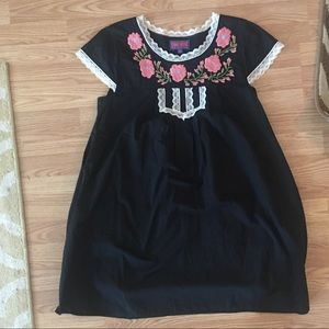 Tracy Feith Dresses - Tracy Feith size XL black with floral embroidered